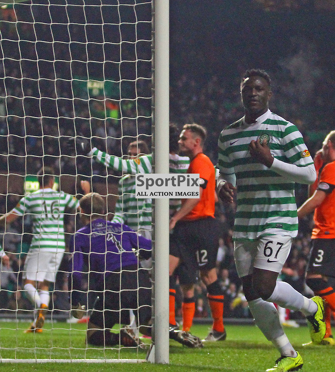 Victor Wanyama Celtic celebrates after scoriing the second in the Clydesdale Bank Premier League Celtic v Dundee United at Celtic Park picture kevin mcglynn