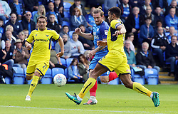 Jack Marriott of Peterborough United in action with Curtis Nelson of Oxford United - Mandatory by-line: Joe Dent/JMP - 30/09/2017 - FOOTBALL - ABAX Stadium - Peterborough, England - Peterborough United v Oxford United - Sky Bet League One