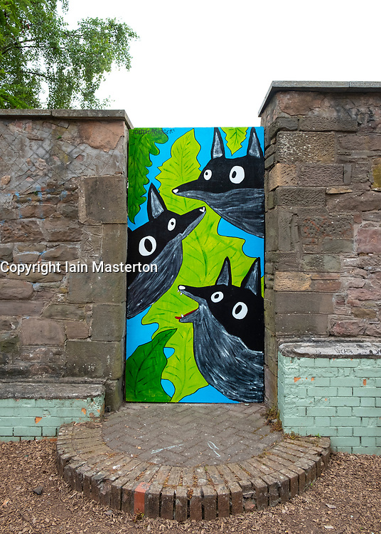 Street art project Openclose Dundee using art on doors in out of the way alleyways and lanes by local artists in the city. Dundee,Scotland, UK. Crescent St Park by Chelsea Rodger