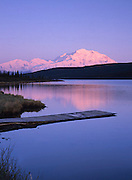 Mt McKinley / Denali and the old dock at the end of Wonder Lake.