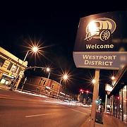 Street scene in the evening near 39th and Main, midtown Kansas City, Missouri.