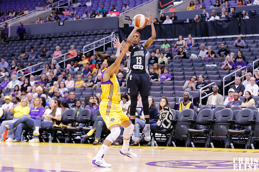 25 May 2014: San Antonio Stars guard Danielle Robinson (13) takes a jumpshot during the Los Angeles Sparks 83-62 victory over the San Antonio Stars, at the Staples Center, Los Angeles, California, USA.