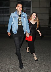 Ederson and wife arriving at the Manchester City celebration party held at Tattu Restaurant in Manchester