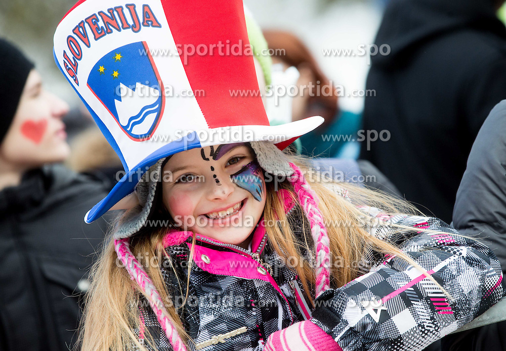 Fans during Final Round at Day 1 of World Cup Ski Jumping Ladies Ljubno 2015, on February 14, 2015 in Ljubno, Slovenia. Photo by Vid Ponikvar / Sportida