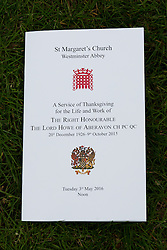 © Licensed to London News Pictures. 03/05/2016. LONDON, UK.  Order of service for the Thanksgiving service for the life and work of former Chancellor of the Exchequer, Rt Hon The Lord Geoffrey Howe of Aberavon CH PC QC at St Margaret's Church, Westminster Abbey.  Photo credit: Vickie Flores/LNP