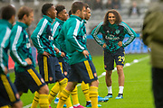 Matteo Guendouzi (#29) of Arsenal FC is all smiles as he warms up with team mates before the Premier League match between Newcastle United and Arsenal at St. James's Park, Newcastle, England on 11 August 2019.