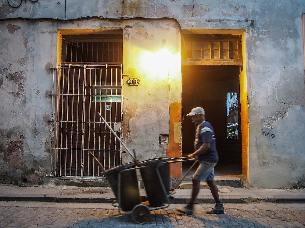 A street sweeper keeps the streets of Old Havana very clean.