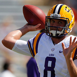 Oct 12, 2013; Baton Rouge, LA, USA; LSU Tigers quarterback Zach Mettenberger (8) throws prior to a game against the Florida Gators at Tiger Stadium. Mandatory Credit: Derick E. Hingle-USA TODAY Sports