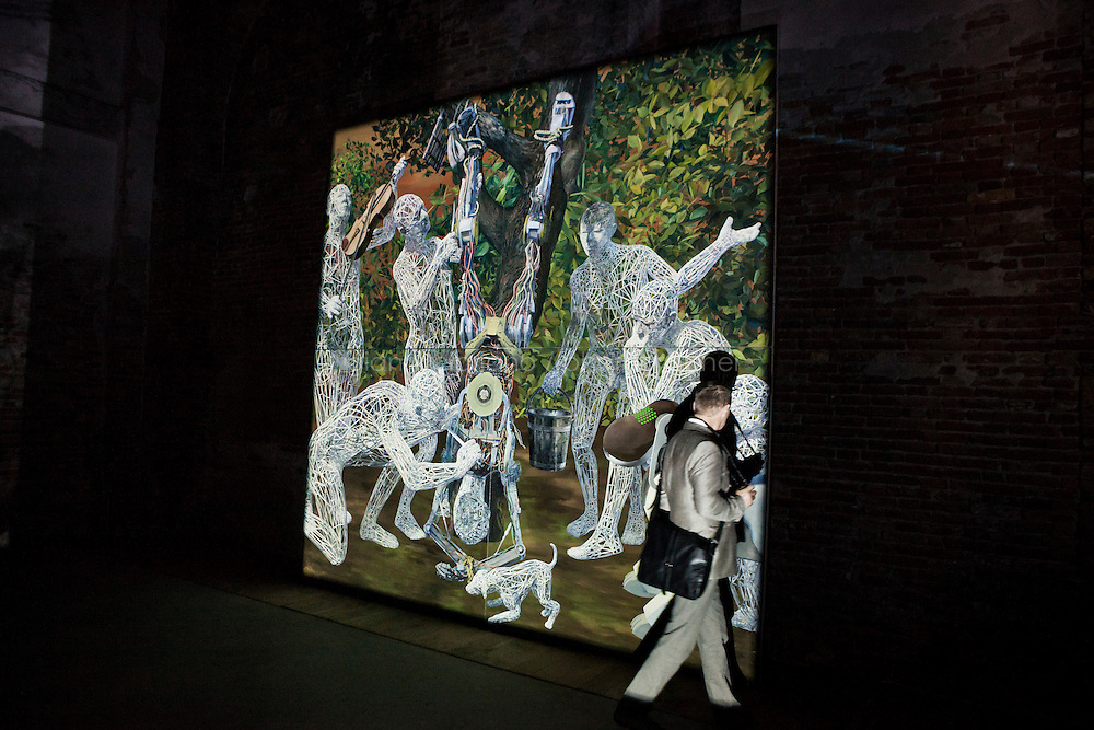 VENICE, ITALY - 31 MAY 2013: Miao Xiaochun's &quot;Out of nothing - public enemy&quot; - oil on canvas, 400x400cm, 2012 -   at the Chinese Pavillon, at Arsenale in Venice, Italy, on May 31st 20113. <br /> <br /> &quot;Transfiguration is the thee of the Chinese Pavillon, oiuting to transformation in contemporary art and conceptualization, especially directed at the space of life and art crossing over, shifting from life to art, object to art work or artistic behavior, or non-art to art. Tranformation is one of the essential substances of contemporary art. &quot;Transfiguration&quot; in the Chinese Pavillon represents a geographical journey of Chinese contemporary art and the expression of its culture, moving from China to Europe, presenting in Renaissance Italy, together with all countries, a showcase of the contemporary world of diverse culture and thoughts.<br /> The 55th International Art Exhibition of the Venice Biennale takes place in Venice from June 1st to November 24th, 2013 at the Giardini and at the Arsenale as well as in various venues the city. <br /> <br /> Gianni Cipriano for The New York TImes
