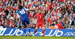 CARDIFF, WALES - Saturday, October 11, 2008: Wales' Jason Koumas takes on Liechtenstein during the 2010 FIFA World Cup South Africa Qualifying Group 4 match at the Millennium Stadium. (Photo by David Rawcliffe/Propaganda)