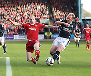 Dundee's Gary Irvine and Aberdeen's Willo Flood - Dundee v Abderdeen, SPFL Premiership at Dens Park<br /> <br />  - &copy; David Young - www.davidyoungphoto.co.uk - email: davidyoungphoto@gmail.com