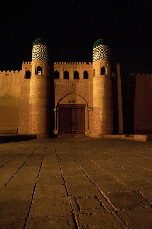 Entrance to the Ark at night, Khiva