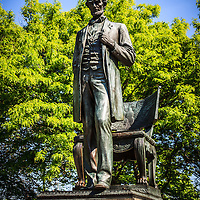 "Abraham Lincoln ""The Man"" standing statue in Lincoln Park in Chicago"