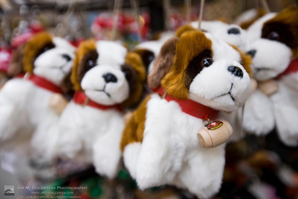 Saint Bernard stuffed animal toys outside of a gift shop in Zermatt, Switzerland