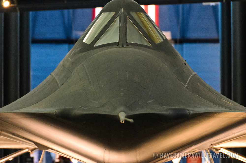 The cockpit of the supersonic Lockheed SR-71 Blackbird spyplane on display at the Smithsonian National Air and Space Museum's Udvar-Hazy Center, a large hangar facility at Chantilly, Virginia, next to Dulles Airport and just outside Washington DC.