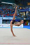 Rizatdinova Anna during final at hoop in Pesaro World Cup at Adriatic Arena on April 12, 2015. Anna was born July 16, 1993 in Simferopol, she is a Ukrainian individual rhythmic gymnast.