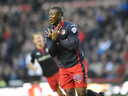 Readings Yakubu Celebrates  his Goal, Readings Second and Winning Goal at Derby, Derby County v Reading, FA Cup 5th Round, The Ipro Stadium, Saturday 14th Febuary 2015