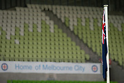 MELBOURNE, VIC - NOVEMBER 09: The Australian Flag is raised prior to the match at the Hyundai A-League Round 4 soccer match between Melbourne City FC and Wellington Phoenix on November 09, 2018 at AAMI Park in Melbourne, Australia. (Photo by Speed Media/Icon Sportswire)