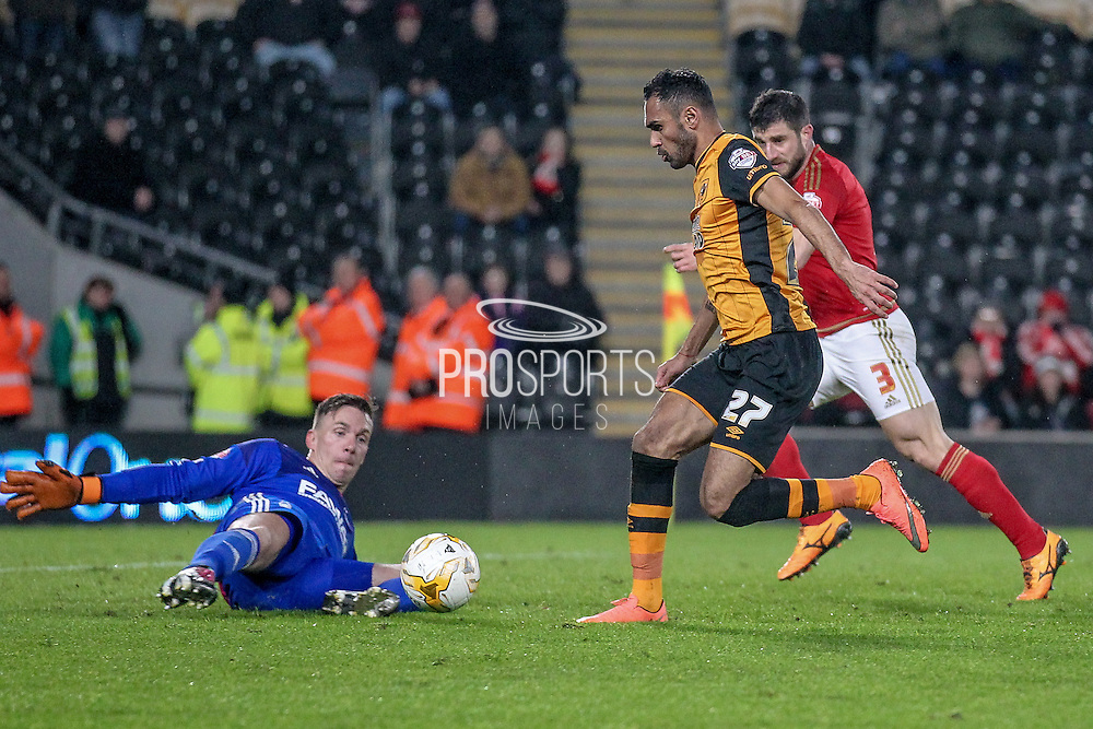 Dorus de Vries (Nottingham Forest) makes a save from Ahmed Elmohamady (Hull City) to deny a goal during the Sky Bet Championship match between Hull City and Nottingham Forest at the KC Stadium, Kingston upon Hull, England on 15 March 2016. Photo by Mark P Doherty.