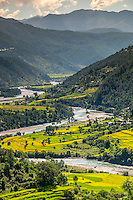 PUNAKHA, BHUTAN - CIRCA October 2014: View of mountain range and valley in Punakha, Bhutan