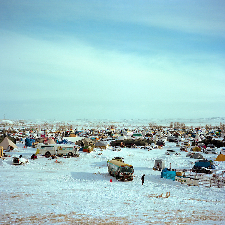 OCETI SAKOWIN CAMP, CANNON BALL, NORTH DAKOTA - DECEMBER 5, 2016: The Oceti Sakowin Camp on December 5, 2016, soon after Dave Archambault II, the tribe's council chairman urged the water protectors to leave camp due to the winter weather and other reasons.