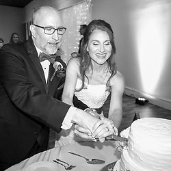 Jim and Robin cut the cake