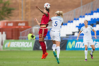 Spain's Jennifer Hermoso and England's Steph Houghton during the frendly match between woman teams of  Spain and England at Fernando Escartin Stadium in Guadalajara, Spain. October 25, 2016. (ALTERPHOTOS/Rodrigo Jimenez)
