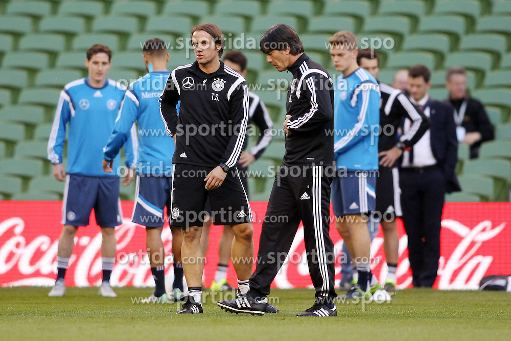 07.10.2015, Avia Stadium, Dublin, IRL, UEFA Euro Qualifikation, Training Deutschland, Irland vs Deutschland, im Bild Bundestrainer Joachim &quot;Jogi&quot; Loew und sein Co Thomas Schneider // during a Trainingssession of German National Football Team before the away Match against Ireland at the Avia Stadium in Dublin, Ireland on 2015/10/07. EXPA Pictures &copy; 2015, PhotoCredit: EXPA/ Eibner-Pressefoto/ Schueler<br /> <br /> *****ATTENTION - OUT of GER*****