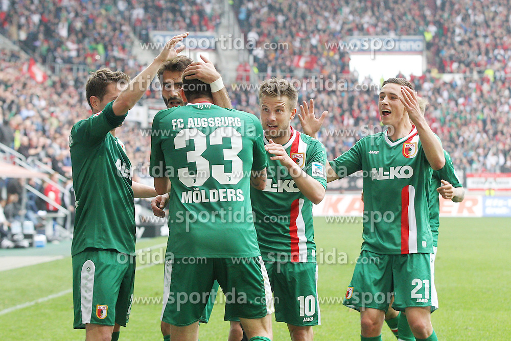 05.04.2014, SGL Arena, Augsburg, GER, 1. FBL, FC Augsburg vs FC Bayern Muenchen, 29. Runde, im Bild die Mannschaft freut sich ueber das Tor von Sascha Moelders #33 (FC Augsburg) // during the German Bundesliga 29th round match between FC Augsburg and FC Bayern Munich at the SGL Arena in Augsburg, Germany on 2014/04/05. EXPA Pictures &copy; 2014, PhotoCredit: EXPA/ Eibner-Pressefoto/ Kolbert<br /> <br /> *****ATTENTION - OUT of GER*****