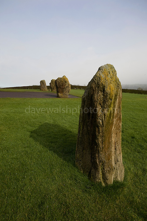 Standing Stones at Newgrange, part of  stone circle around the 5200 year old neolithic passage grave, in Co. Meath, Ireland.