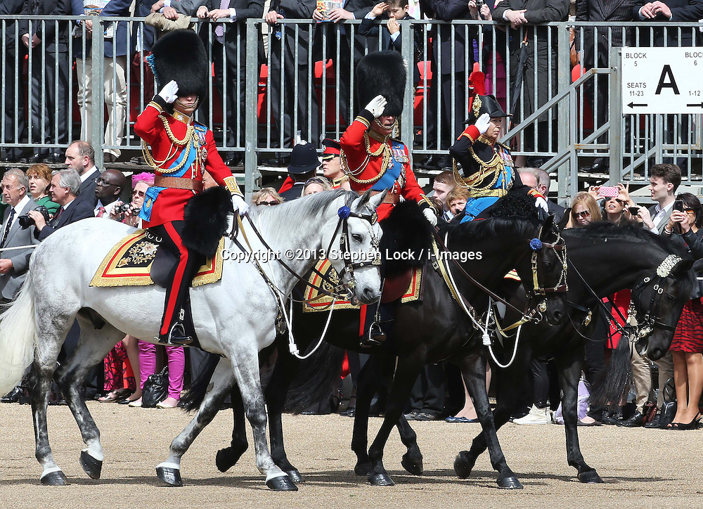 Prince of Wales ,Duke of Cambridge and Princess Royal  at Trooping The Colour in London, Saturday, 15th June 2013 Picture by Stephen Lock / i-Images