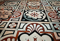 Milan, Italy, Duomo Cathedral. Detail of the marble floor parquette.