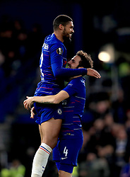 Chelsea's Ruben Loftus-Cheek (left) celebrates scoring his side's third goal of the game and his hat-trick with team-mate Chelsea's Cesc Fabregas (right)