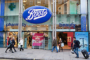Boots branch, Oxford Street, London. The front entrance.
