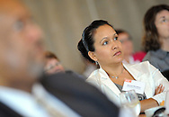 WARMISNER, PA. -  OCTOBER 10: Araceli Montero listens as Pooja Tilvawala (not shown) speaks at the 21st Annual YWCA Breakfast with Friends October 10, 2013 at Spring Mill Manor in Warminster, Pennsylvania.  (Photo by William Thomas Cain/Cain Images)