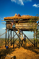 Repairing elephant lookout, Gonarezhou National Park in Zimbabwe, Southern Africa.<br /> <br /> Raleigh International. Venturers collected data for the World Wildlife Fund showing the recent effects of drought on the local elephant population in Gonarezhou National Park. 1994
