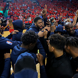 Apr 19, 2018; New Orleans, LA, USA; New Orleans Pelicans forward Anthony Davis (23) huddles with his team before game three of the first round of the 2018 NBA Playoffs against the Portland Trail Blazers at the Smoothie King Center. Mandatory Credit: Derick E. Hingle-USA TODAY Sports