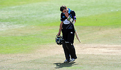 Somerset's Jack Leach celebrates the wicket of Worcestershire's Daryl Mitchell - Photo mandatory by-line: Harry Trump/JMP - Mobile: 07966 386802 - 31/07/15 - SPORT - CRICKET - Somerset v Worcestershire- Royal London One Day Cup - The County Ground, Taunton, England.