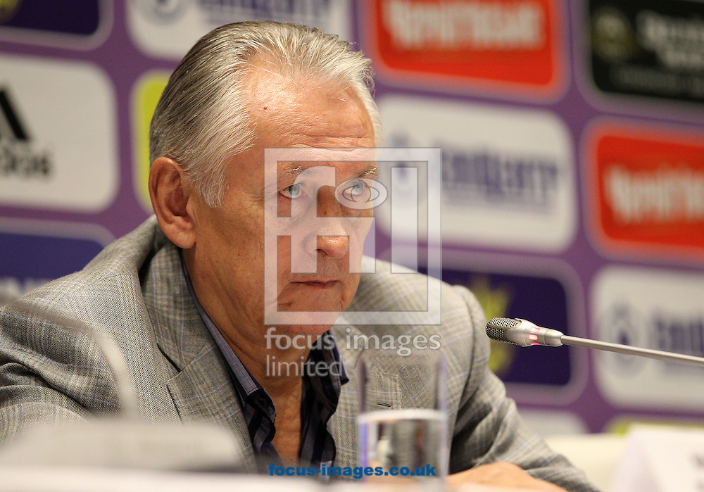 Picture by Paul Terry/Focus Images Ltd +44 7545 642257<br /> 09/09/2013<br /> Mykhaylo Fomenko, the Ukraine Manager talks during a Press Conference at the Olympic Stadium, Kiev.