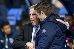 March 23, 2019 - Meadow, Shropshire, United Kingdom - Kenny Jackett Manager of Portsmouth FC shakes hands with Sam Ricketts Manager of Shrewsbury Town at the start of the Sky Bet League 1 match between Shrewsbury Town and Portsmouth at Greenhous Meadow, Shrewsbury on Saturday 23rd March 2019. (Credit Image: © Mi News/NurPhoto via ZUMA Press)