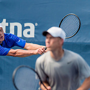 August 21, 2016, New Haven, Connecticut: <br /> Brian Battistone and Dann Battistone in action during a US Open National Playoffs match at the 2016 Connecticut Open at the Yale University Tennis Center on Sunday, August  21, 2016 in New Haven, Connecticut. <br /> (Photo by Billie Weiss/Connecticut Open)