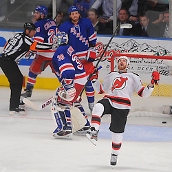 May 16, 2012: New Jersey Devils right wing David Clarkson (23) celebrates his game winning goal on New York Rangers goalie Henrik Lundqvist (30) during third period action in game 2 of the NHL Eastern Conference Finals between the New Jersey Devils and New York Rangers at Madison Square Garden in New York, N.Y. The Devils defeated the Rangers 3-2.