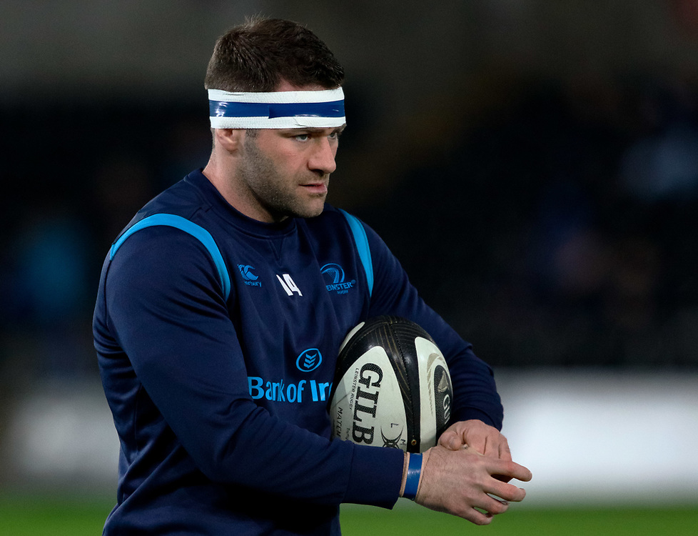 Leinster's Fergus McFadden during the pre match warm up<br /> <br /> Photographer Simon King/Replay Images<br /> <br /> Guinness PRO14 Round 19 - Ospreys v Leinster - Saturday 24th March 2018 - Liberty Stadium - Swansea<br /> <br /> World Copyright © Replay Images . All rights reserved. info@replayimages.co.uk - http://replayimages.co.uk
