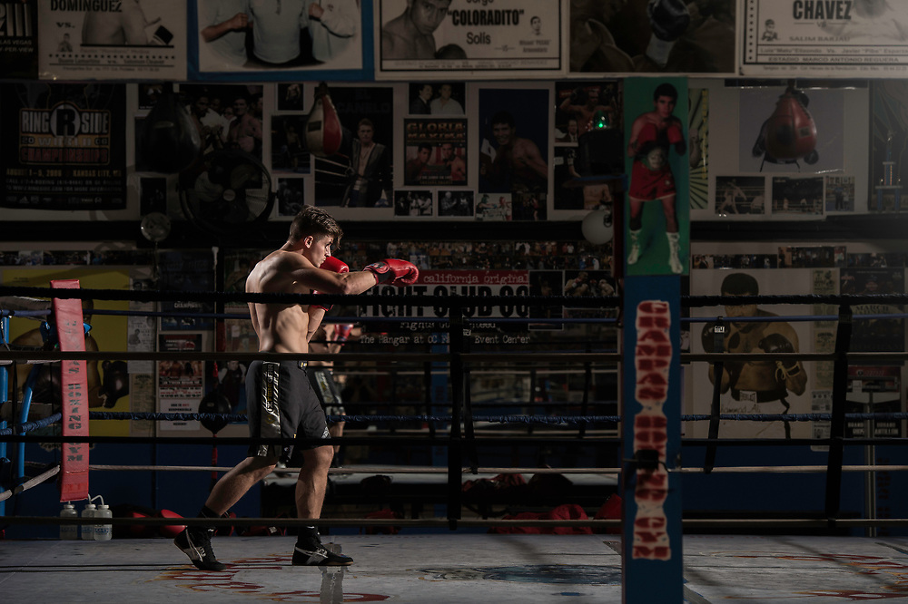Matyas Nagy at Grampas Boxing Gym in Westminster, California on April 1, 2017.  ©Michael Der