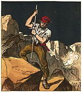 Stone quarry worker tamping down a gunpowder charge ready to fit a fuse and blast away a section of rock. Chromolithograph from a children's book published in 1867.
