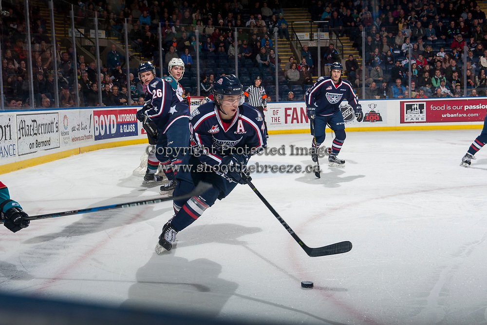 KELOWNA, CANADA - JANUARY 3: Dylan Coghlan #10 of the Tri-City Americans skates with the puck during second period against the Kelowna Rockets on January 3, 2017 at Prospera Place in Kelowna, British Columbia, Canada.  (Photo by Marissa Baecker/Shoot the Breeze)  *** Local Caption ***