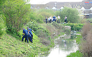 11.APRIL.2011. RAINHAM, ESSEX<br /> <br /> POLICE FIND THE BODY OF A NEWBORN BABY WHILST SEARCHING THE UNDERGROWTH BESIDE THE INGREBOURNE RIVER IN RAINHAM, ESSEX.<br /> <br /> BYLINE: EDBIMAGEARCHIVE.COM<br /> <br /> *THIS IMAGE IS STRICTLY FOR UK NEWSPAPERS AND MAGAZINES ONLY*<br /> *FOR WORLD WIDE SALES AND WEB USE PLEASE CONTACT EDBIMAGEARCHIVE - 0208 954 5968*