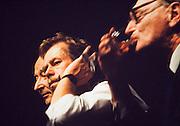 November 24, 1989. Prague, Czechoslovakia. Press conference with Alexander Dubcek (l.), Vaclav Havel (m.) and Jiri Hayek (r.) at Camera Obscura Club. (Photo Heimo Aga)