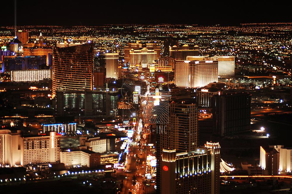 Las Vegas skyline at night looking down the Strip