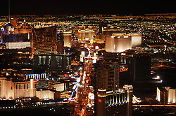 Las Vegas skyline at night looking down the Strip